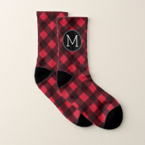 Rustic Red & Black Buffalo Plaid Pattern Monogram Socks