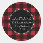 Rustic Red & Black Buffalo Plaid Pattern Monogram Stickers