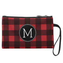 Rustic Red & Black Buffalo Plaid Pattern Monogram Suede Wristlet Wallet