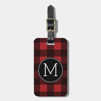 Rustic Red & Black Buffalo Plaid Pattern Monogram Tag For Luggage