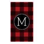 Rustic Red & Black Buffalo Plaid Pattern Monogram Business Card Templates