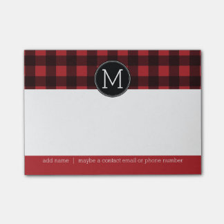 Rustic Red & Black Buffalo Plaid Pattern Monogram Post-it® Notes