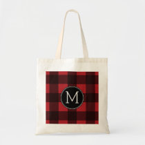 Rustic Red & Black Buffalo Plaid Pattern Monogram Tote Bag