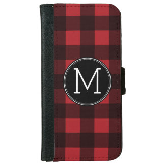 Rustic Red & Black Buffalo Plaid Pattern Monogram Wallet Phone Case For iPhone 6/6s