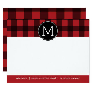 Rustic Red & Black Buffalo Plaid Thank You Card