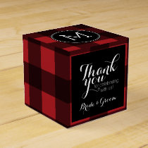 Rustic Red & Black Buffalo Plaid Thank You Favor Box