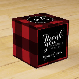 Rustic Red & Black Buffalo Plaid Thank You Favor Box