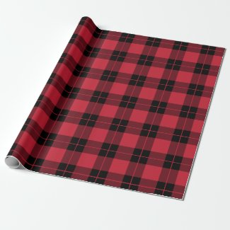 Rustic Red Black Plaid Pattern Wrapping Paper