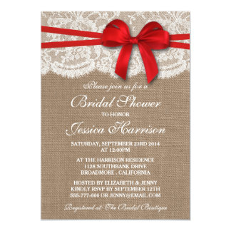 Rustic Red Bow, Burlap & Lace Bridal Shower Personalized Invite