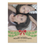 Rustic Red Bow & Garland Holiday Photo Card Personalized Invitation