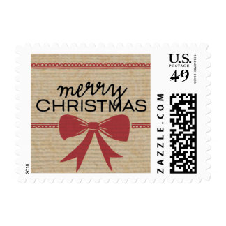 Rustic Red Bow & Ribbon Holiday Stamp