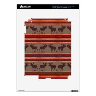 Rustic red brown moose pattern iPad 3 decal
