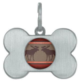 Rustic red brown moose pattern pet tag