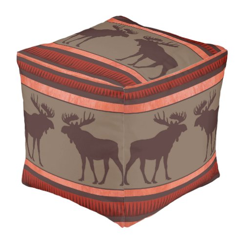 Rustic red brown moose square ottoman pillow