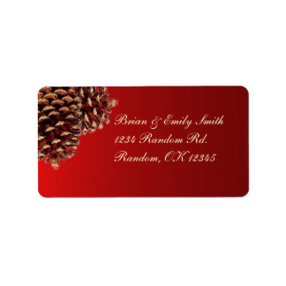 Rustic red brown pine cone address labels