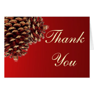 Rustic red brown pine cone thank you cards