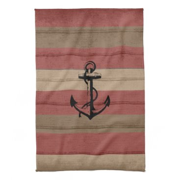 Beach Themed Rustic Red & Brown Wood Nautical Stripes & Anchor Kitchen Towels