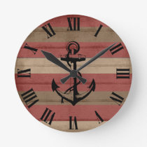 Rustic Red & Brown Wood Nautical Stripes & Anchor Round Clock