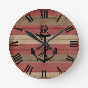 Beach Themed Rustic Red & Brown Wood Nautical Stripes & Anchor Round Clock