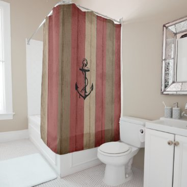 Beach Themed Rustic Red & Brown Wood Nautical Stripes & Anchor Shower Curtain