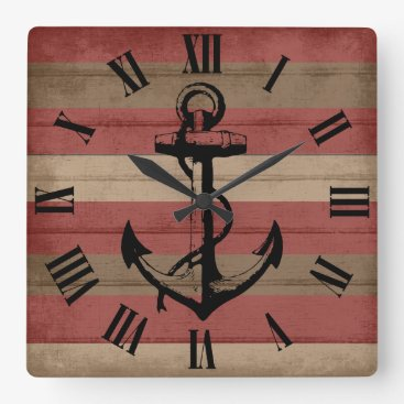 Beach Themed Rustic Red & Brown Wood Nautical Stripes Clock