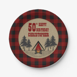 Rustic Red Buffalo Check Camp Camping Birthday Paper Plate