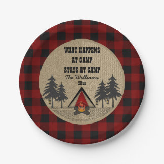 Rustic Red Buffalo Check Camp Camping Party Name Paper Plate