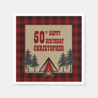 Rustic Red Buffalo Check Campfire Camping Birthday Paper Napkin