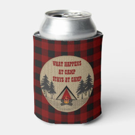 Rustic Red Buffalo Checks Camp Camping Name Can Cooler