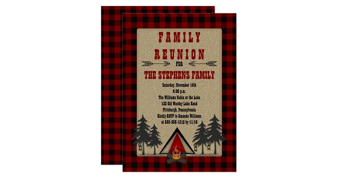 Rustic Red Buffalo Checks Camping Family Reunion