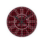 Rustic Red Buffalo Plaid White Roman Numerals Round Clock