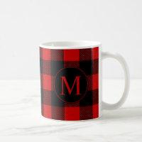 Rustic Red Buffalo Plaid with Custom Monogram Coffee Mug