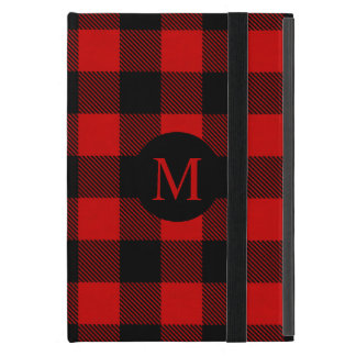 Rustic Red Buffalo Plaid with Monogram Cases For iPad Mini