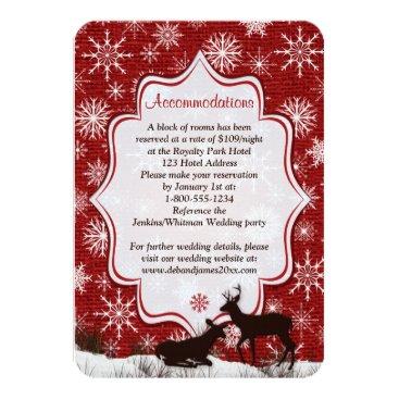 Rustic Red Burlap, Snowflakes, Deer Enclosure Card