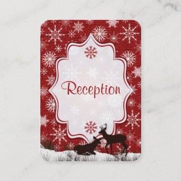 Rustic Red Burlap, Snowflakes, Deer Enclosure Card