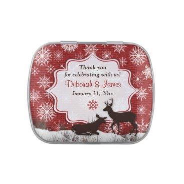 Rustic Red Burlap Snowflakes Deer Favor Candy Tin