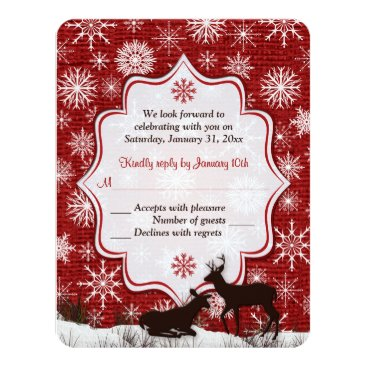 Rustic Red Burlap, Snowflakes, Deer Wedding RSVP Card