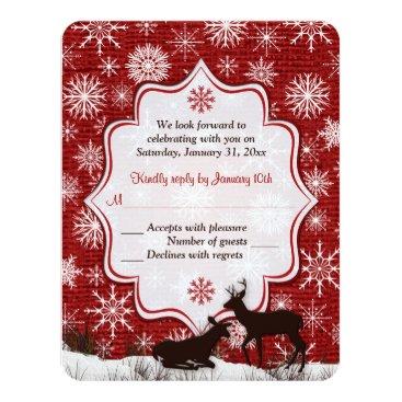 Rustic Red Burlap, Snowflakes, Deer Wedding RSVP Card