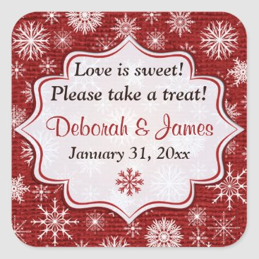 Rustic Red Burlap Snowflakes Wedding Favor Sticker