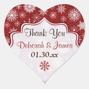 Rustic Red Burlap Snowflakes Wedding Favor Sticker