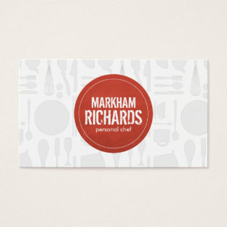 Rustic Red Circle Logo for Chef, Catering, Bakery Business Card