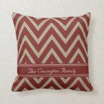 Rustic Red Faux Burlap Chevron Pattern Pillows