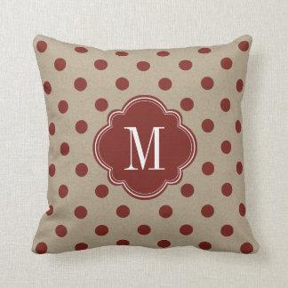 Rustic Red Faux Burlap Polka Dot Throw Pillow