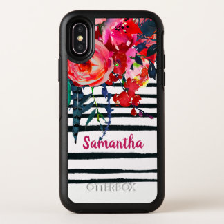 Rustic Red Floral and Stripes Personalized OtterBox Symmetry iPhone X Case