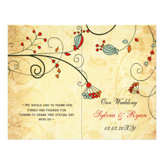 Rustic, red floral folded , fall Wedding program