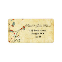 rustic  red floral ,return address label