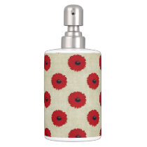 Rustic Red  Flowers Pattern Bathroom Set
