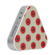 Rustic Red  Flowers Pattern Bluetooth Speaker