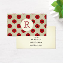 Rustic Red  Flowers Pattern Business Card