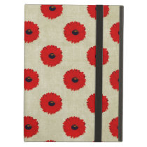 Rustic Red  Flowers Pattern Case For iPad Air